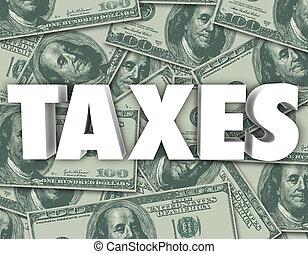 sto, słowo, pieniądze, dolar, podatki, tło, dzioby