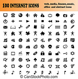 sto, wektor, ikony