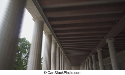 Stoa of Attalos columns in Athens, Greece.