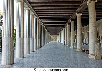 Stoa of Attalos in ancient Agora, Athens, Greece