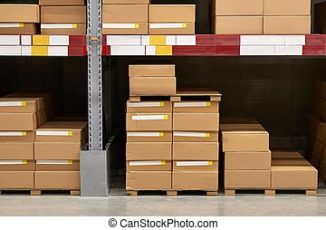 stocké, entrepôt, piles, boîtes