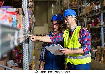stock., αρίθμηση , αρσενικό , δουλευτής , αποθήκη
