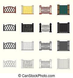 stock., フェンス, 壁, 印。, コレクション, ベクトル, デザイン, 門, アイコン
