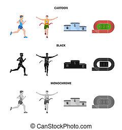 stock., 勝者, シンボル。, コレクション, ビットマップ, デザイン, フィットネス, スポーツ, アイコン