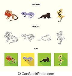 stock., 印。, オブジェクト, 隔離された, コレクション, 環境, 尾, ベクトル, 動物群, アイコン