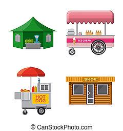 stock., 食物, コレクション, ビットマップ, イラスト, 外面, logo., 市場, アイコン