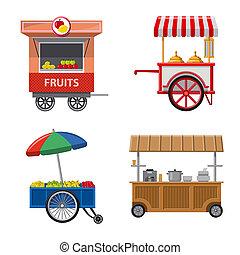 stock., 食物, シンボル。, コレクション, ビットマップ, デザイン, 外面, 市場, アイコン