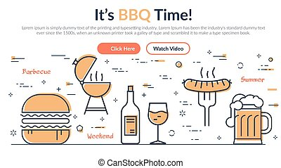 Creative design of webpage about barbecue and summer grill with simple icons on white background