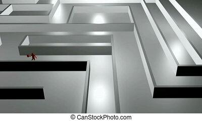 Stock Animation of a man Running Through a Business Maze