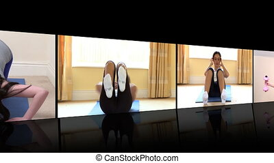 Stock animation of dynamic women doing fitness exercises at home