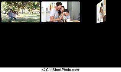 Stock animation of father taking care of his family
