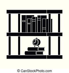 stock., boekenkast, verzameling, vector, illustratie, boekenplank, logo., boek, pictogram