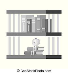 stock., boekenkast, verzameling, vector, ontwerp, boekenplank, icon., boek, pictogram