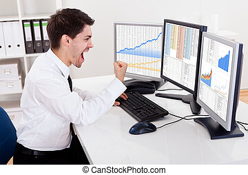 Stock broker trading in a bull market