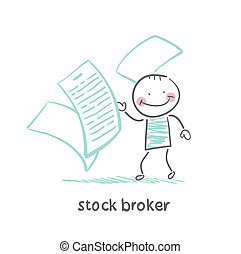 stock broker with documents