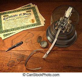 Stock Brokerage - Vintage stock brokerage desk with ticker...