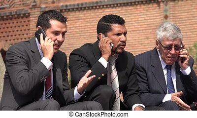 Stock Brokers Talking On Cell During Stock Market Panic