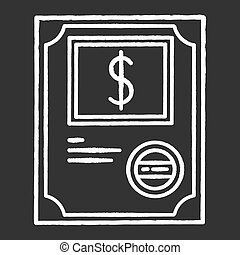 Stock certificate chalk white icon on black background. ...