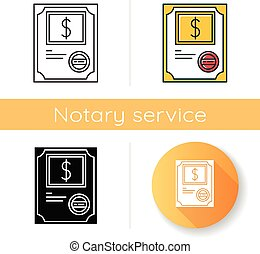 Stock certificate icon. Corporate law. Share ownership. Legal document. Notary services. Investment. Apostille and legalization. Linear black and RGB color styles. Isolated vector illustrations