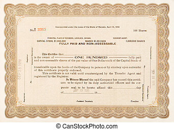 Old stock certificate from a company in Lovelock, Nevada. Issued in 1918 for 100 shares.
