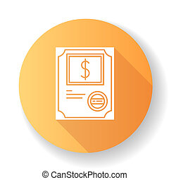Stock certificate orange flat design long shadow glyph icon...