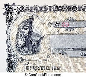 Stock Certificate Vignette, Woman American Flag Eagle Shield