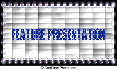 Stock CGI 1080i Video Footage of feature presentation marquee sign