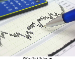Stock chart, calculator and pen