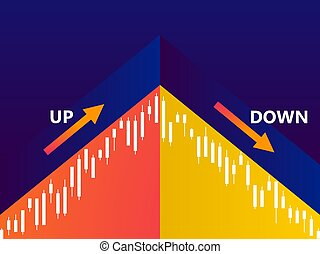 Stock chart, stock market trading. Schedule of rise and fall in prices. Vector illustration