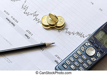 Stock chart with a pencil, a telephone and coins
