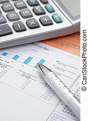 Stock chart with calculator, pen
