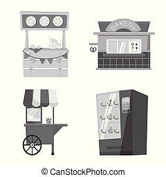 stock., conception, vecteur, collection, symbole., icône, service, magasin, storefront