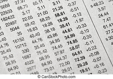 stock data on newspaper for backgorund