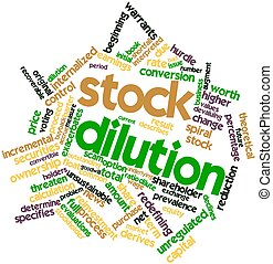 Stock dilution - Abstract word cloud for Stock dilution with...