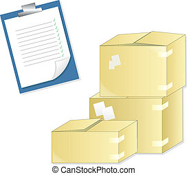 stock - supply boxes and a check list