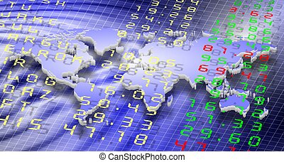 stock exchange and world - stock exchange board and world...