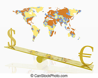 Stock exchange. - Balance with dollar and euro, stock...