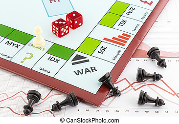 Stock market board game with white piece places on chance area and black pieces fall on graph background