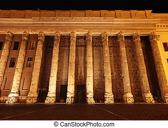 Stock Exchange building at night in Rome