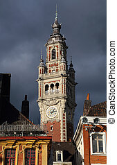 Stock exchange building clock tower of Lille, France - Clock...