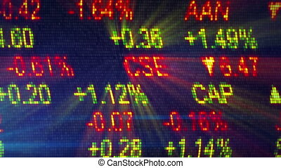 stock exchange data board close-up