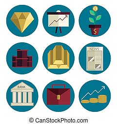 Stock exchange flat icons set