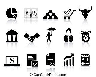 stock exchange icons set