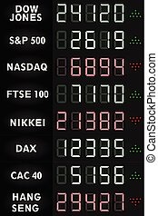 Stock exchange indexes scoreboard. vector illustration