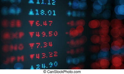 Stock exchange rates data board loop