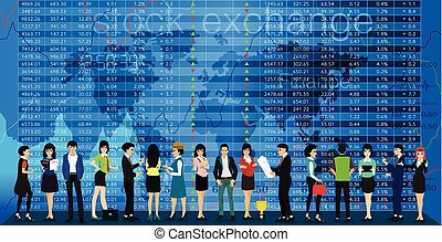Stock Exchange - Team and investors with stock exchange as a...