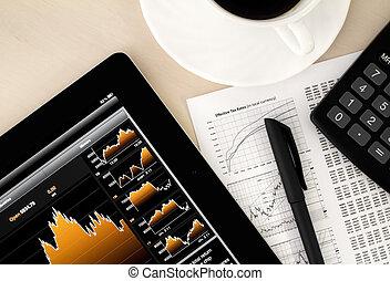 Stock Exchange Workplace - Desktop in stock exchange office...