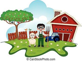 Stock farmer with goat on farm