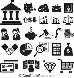 Stock financial icons set illustra