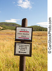 Stock foot traffic only sign.
